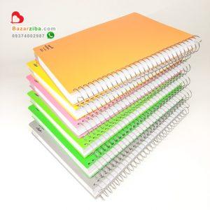 خرید دفتر سیمی 200 برگ بزرگ خط دار با جلد طلقی رنگی طرح ساده با حاشیه کاغذ 4 رنگ مشخصات و قیمت