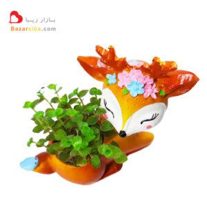 گلدان فانتزی آهو با گیاه طبیعی چمن عروس کالیسیا خرید اینترنتی گلدان فانتزی قیمت مناسب برای هدیه کوچک زیبا کادویی شیک مدرن و ارزان