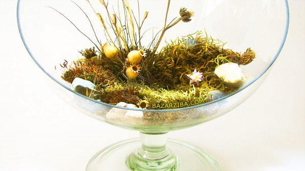 گل خشک طبیعی با گلدان پایه دار